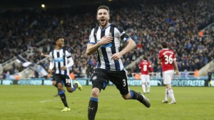 "Football Soccer - Newcastle United v Manchester United - Barclays Premier League - St James' Park - 12/1/16 Paul Dummett celebrates after scoring the third goal for Newcastle Action Images via Reuters / Carl Recine Livepic EDITORIAL USE ONLY. No use with unauthorized audio, video, data, fixture lists, club/league logos or ""live"" services. Online in-match use limited to 45 images, no video emulation. No use in betting, games or single club/league/player publications.  Please contact your account representative for further details."