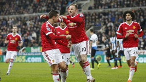 "Football Soccer - Newcastle United v Manchester United - Barclays Premier League - St James' Park - 12/1/16 Wayne Rooney celebrates with team mates after scoring the first goal for Manchester United from the penalty spot Action Images via Reuters / Carl Recine Livepic EDITORIAL USE ONLY. No use with unauthorized audio, video, data, fixture lists, club/league logos or ""live"" services. Online in-match use limited to 45 images, no video emulation. No use in betting, games or single club/league/player publications.  Please contact your account representative for further details."
